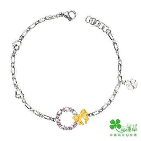 幸運草 甜蜜花圈 純金+白鋼手鍊