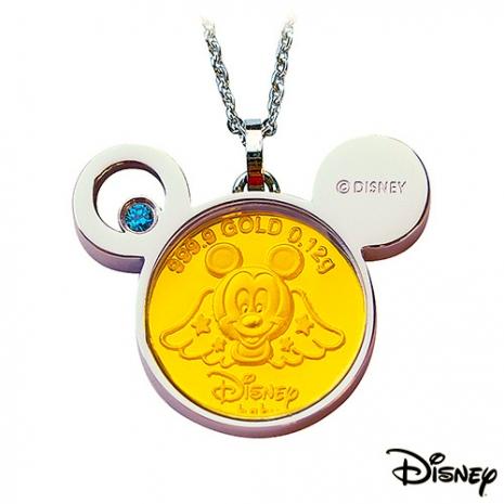 【迪士尼金飾】聰明天使米奇黃金/白鋼項鍊