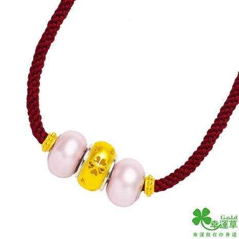 幸運草 真心祝福黃金/純銀/施華洛世奇水晶珠貝墜子 送項鍊