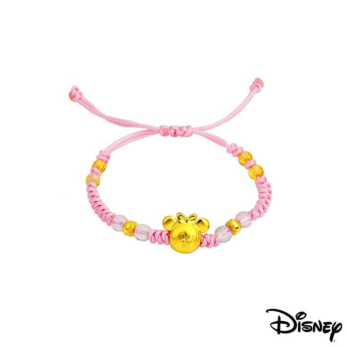 Disney迪士尼金飾 雀躍美妮黃金編織手鍊之二