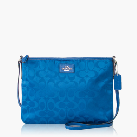 【COACH輕便小包】織布 / 側背 / 斜背包(小款)_藍色