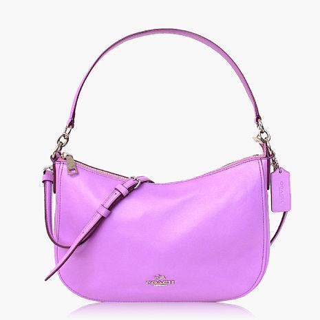 【COACH多種背法】皮革 / 肩背 / 斜背兩用包(小款)_粉紫