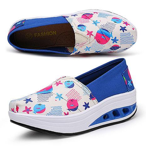 【Alice韓系館】Y1027-5普普風亮麗色彩氣墊式健走鞋(藍)- 預購