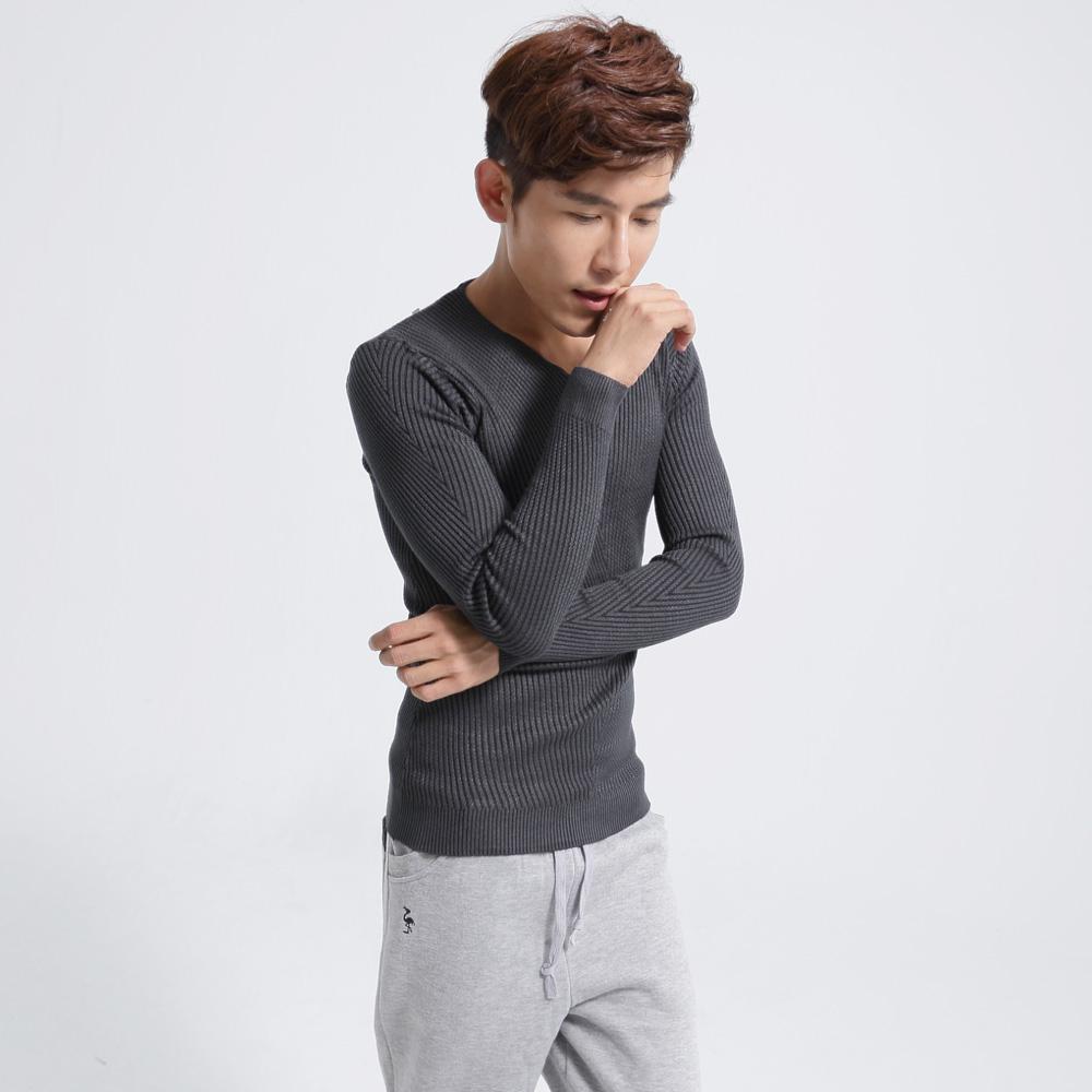 FATAN 斜紋視覺修身窄版V領毛衣~灰