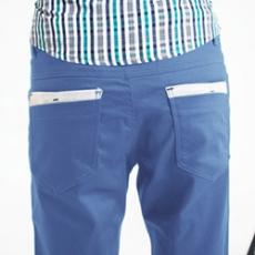 FATAN 後口袋灰色拼布素面短褲~藍