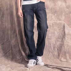 FATAN 黑色刷白抓痕牛仔褲