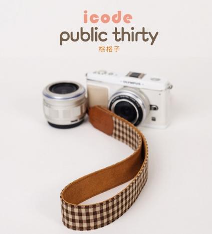 ICODE 幸運草 最流行的彩色相機背帶 PUBLIC 30  [棕格子/P3304]
