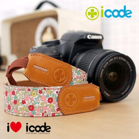 ICODE 幸運草 最流行的彩色相機背帶 PUBLIC 30 -新花色 [粉紅小花/P0400]