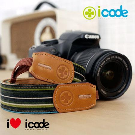 ICODE 幸運草 最流行的彩色相機背帶 PUBLIC 30 -新花色 [綠白條紋/P0349]