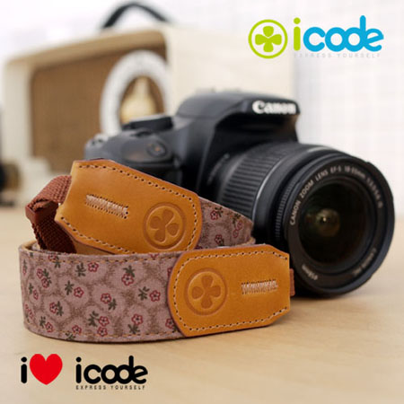 ICODE 幸運草 最流行的彩色相機背帶 PUBLIC 30 -新花色 [棕色小花/P0387]