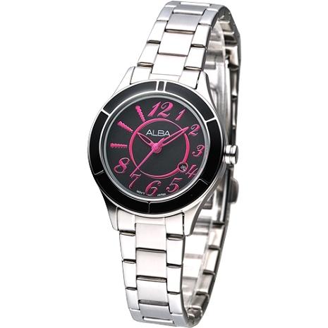 ALBA 時尚元素絢麗女腕錶-黑/桃紅刻(Sale)