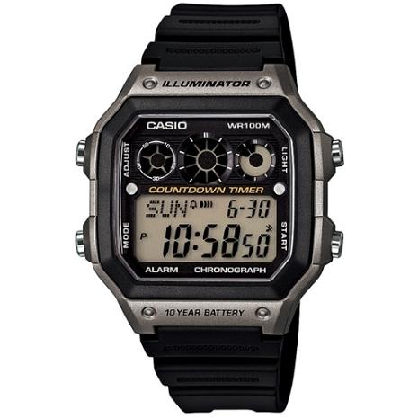 CASIO 雷神戰士個性運動電子錶(黑x銀灰)