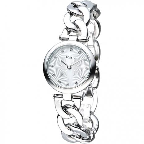 FOSSIL 摩登龐克風尚晶鑽手鍊錶-銀色(ES3390)