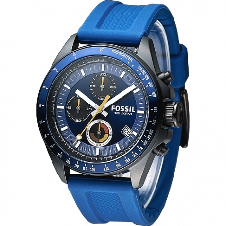 FOSSIL 世紀型男3眼計時運動腕錶-藍(CH2879)