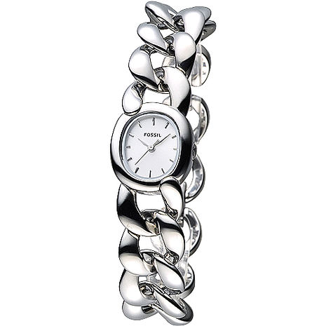 FOSSIL 龐德女郎時尚手鍊女錶-銀白面(ES3458)