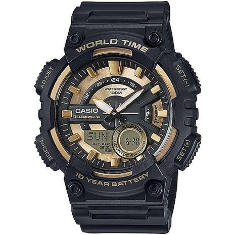 CASIO 暴風城市之鑰雙顯運動錶(金)_AEQ-110BW-9A