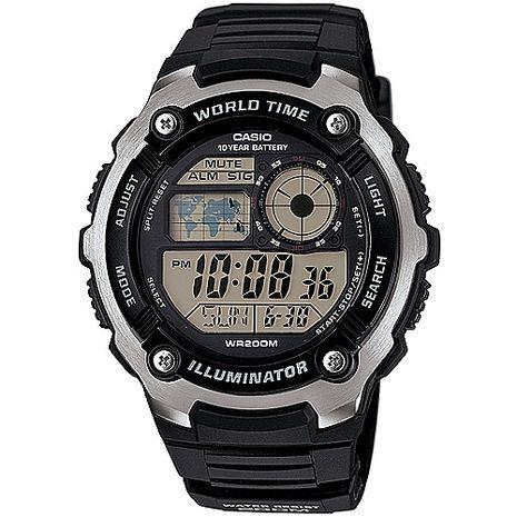 CASIO潛戰世界先鋒運動電子錶(膠帶/黑)_AE-2100W-1A