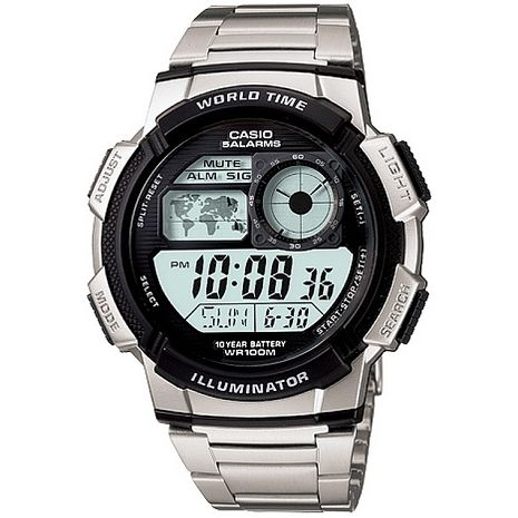 CASIO 雷霆世界戰士運動電子錶-鋼帶(AE-1000WD-1A)