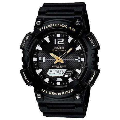 CASIO 型男個性太陽能雙顯錶-黑錶帶/金指針(AQ-S810W-1B)