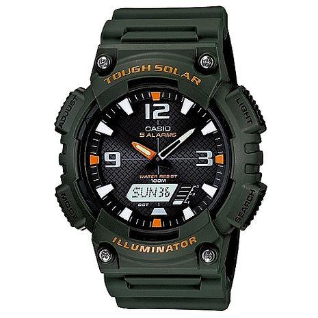 CASIO 型男個性太陽能雙顯錶-墨綠錶帶(AQ-S810W-3A)