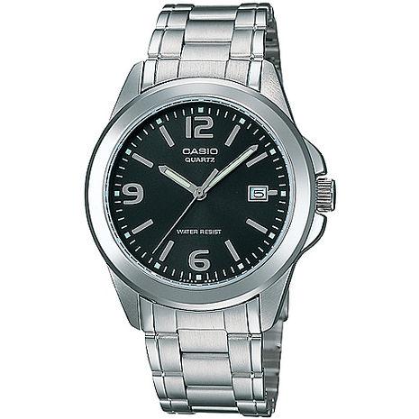 CASIO 品味城市優雅紳士錶-黑(MTP-1215A-1A)