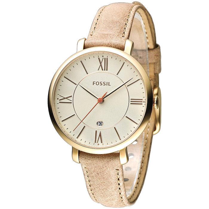 FOSSIL 玩美俏女孩時尚皮帶錶-金框/土黃(ES3487)