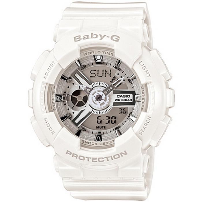 Baby-G 簡潔低調女錶-白_BA-110-7A3