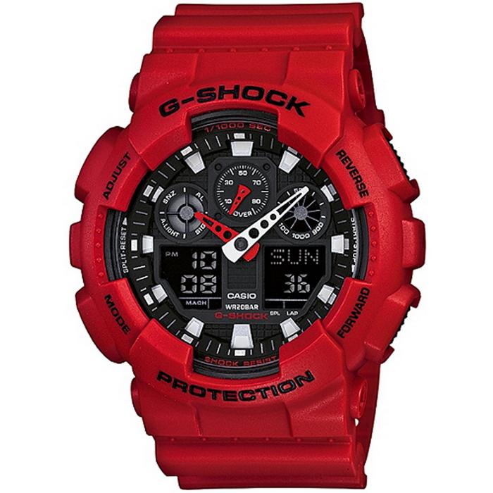 G-SHOCK 重型機械感酷炫男錶-紅x黑_GA-100B-4A
