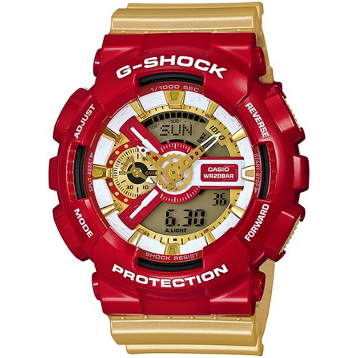 G-SHOCK 華麗冒險PK男錶-金x紅_GA-110CS-4A