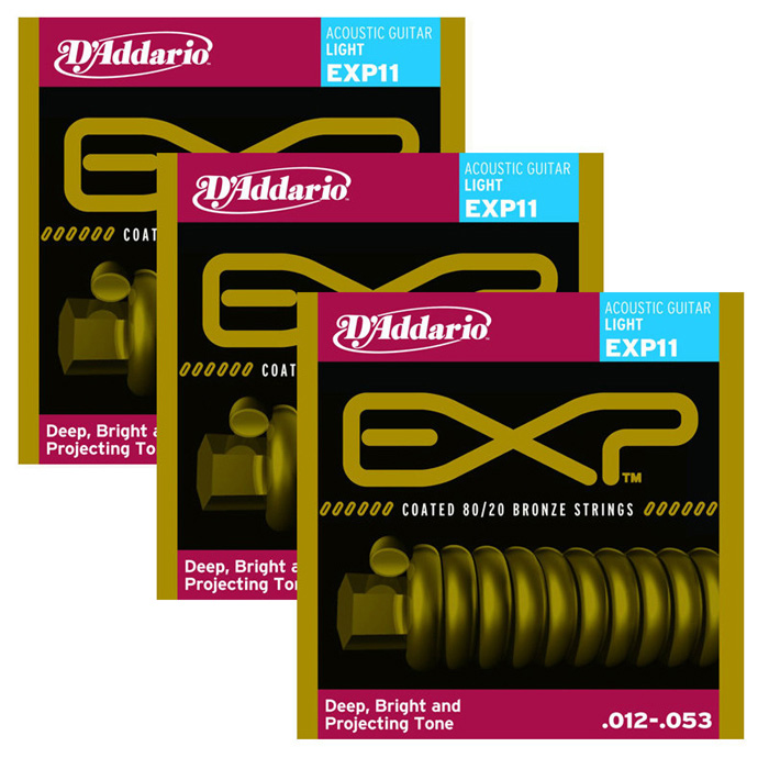 【DAddario】民謠吉他弦/木吉他弦EXP11 獨立包裝 暢銷琴弦(12~53)【三包特價組】