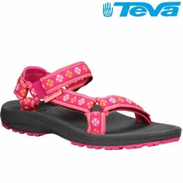 TEVA Kids 兒童款經典織帶水陸運動涼鞋Hurricane 2 - 粉紅
