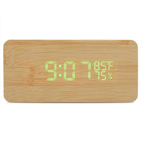 無印良品風格 LED 多功能 時鐘/鬧鐘/電子鐘(竹子色)