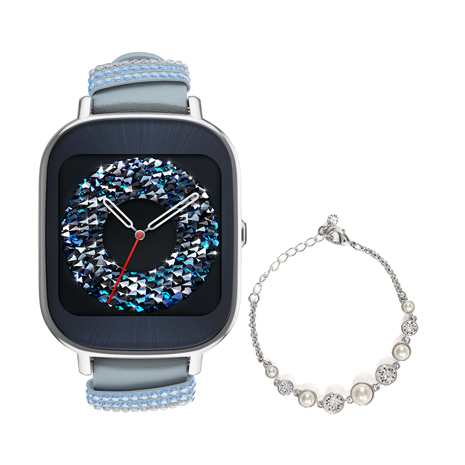 ASUS  華碩  ZenWatch 2 WI502Q(BQC)  快充進化版智慧手錶 真皮晶鑽藍/小錶 (限量含施華洛世奇手鍊)