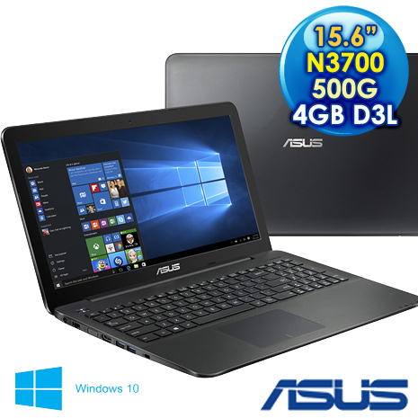 【瘋狂特殺.】ASUS 華碩  X554SJ-0027KN3700  (N3700/15.6W/2GD3L*2/500G/DL/W10) 經典黑 效能筆電