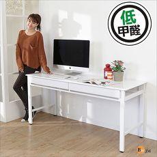 BuyJM 安格環保低甲醛熱壓成型鏡面雙抽工作桌電腦桌寬160CM
