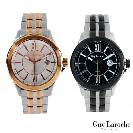 【Guy Laroche姬龍雪】法國全球限量不鏽鋼羅馬數字圓盤腕錶(金.黑2色任選)