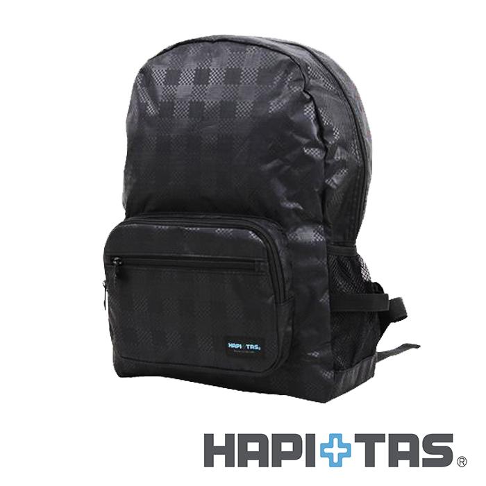 日本暢銷【HAPI+TAS】黑色格紋 高級摺疊 防潑水 折疊後背包  可登機 旅行 搭配拉桿使用