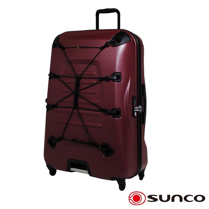 【日本 SUNCO】日本設計 19.5吋 PC 拉鍊拉桿 360度超靜音車輪 輕量 行李箱 -酒紅