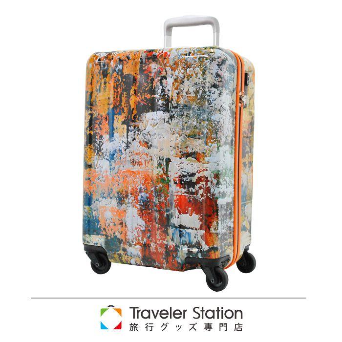【日本Traveler Station】油畫彩色 19.5吋 PC 拉鍊拉桿 360度超靜音輪 輕量 行李箱-油畫彩色