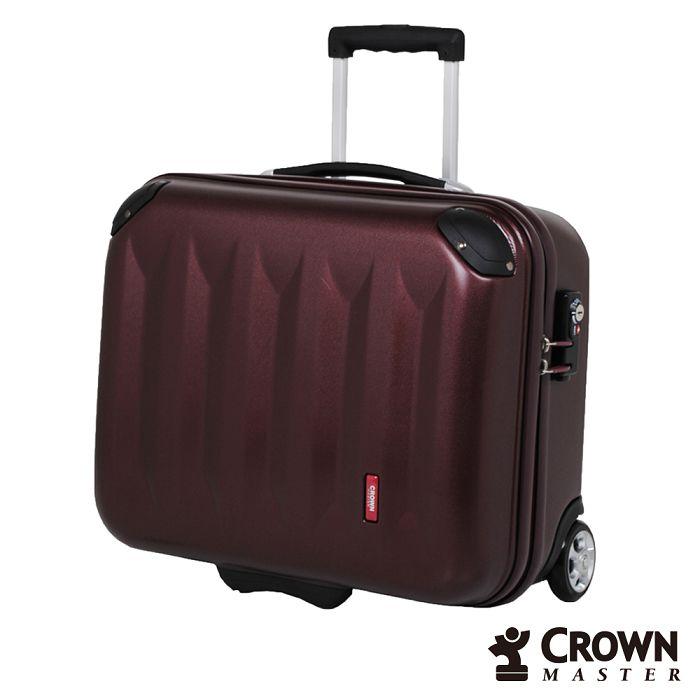 【日本 CROWN MASTER】17吋 PC 拉鍊拉桿 公文 拉桿箱 - 珠光深紅