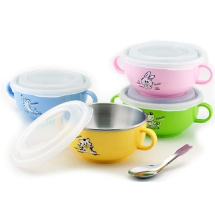 【斑馬ZEBRA】頂級304不鏽鋼兒童雙耳提把隔熱碗(附塑膠蓋+湯匙)/250ml