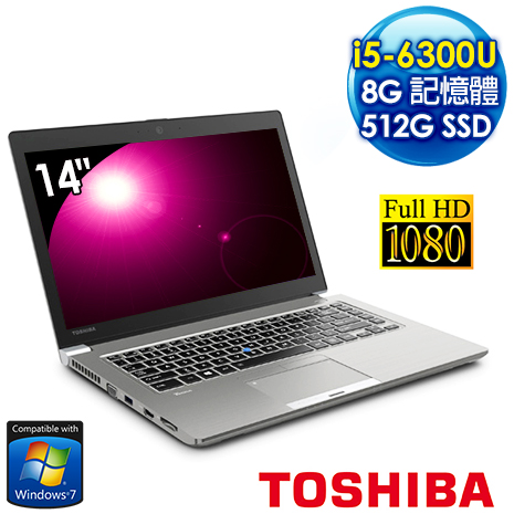 ★加送office 365★ Toshiba Z40-C-00K009 14吋FHD超輕薄筆電 (i5-6300U/8G/512G SSD/Win7 Pro)