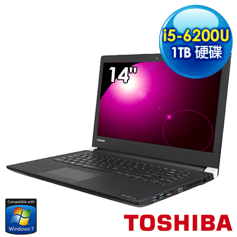 【toshiba品牌月 】Toshiba A40-C-01000M 14吋超輕薄筆電 (i5-6200U/4G/1TB/Win7 Pro)
