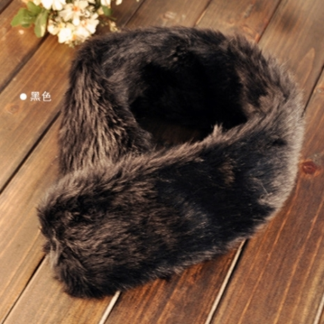 i 美麗- 兔毛圍脖圍巾(黑色)