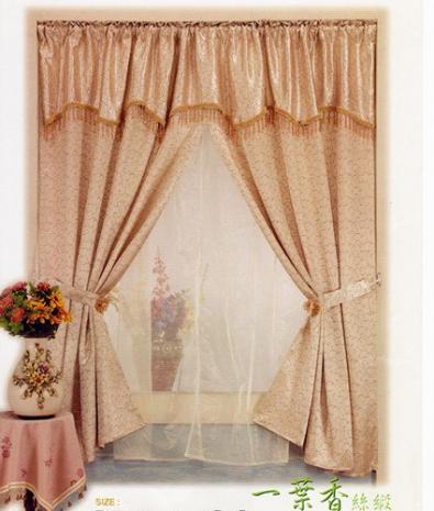 【櫻之舞】一葉香絲緞雙層落地窗窗簾-6.5*5.5尺