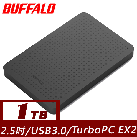 BUFFALO PCF系列2.5吋1T USB3.0薄型硬碟-黑