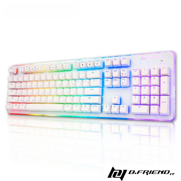 B.Friend GK3st 遊戲炫光有線鍵盤(RGB)-白