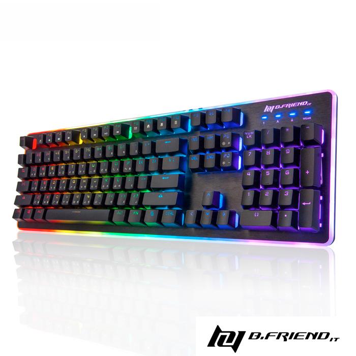 B.Friend GK3st 遊戲炫光有線鍵盤(RGB)-黑