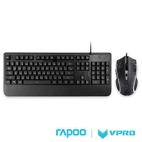 雷柏 RAPOO VPRO V110炫彩背光電競鍵盤滑鼠組-黑