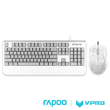 雷柏 RAPOO VPRO V110炫彩背光電競鍵盤滑鼠組-白
